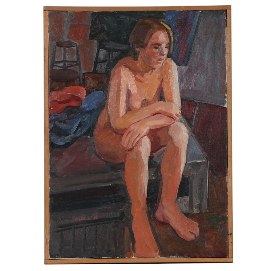 "Stephen Hankin Oil Painting ""Model Resting,"" 1985"