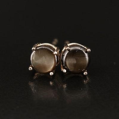 14K Black Star Sapphire Stud Earrings