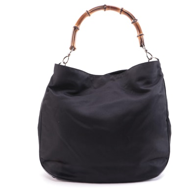 Gucci Bamboo Black Nylon and Patent Leather Shoulder Bag