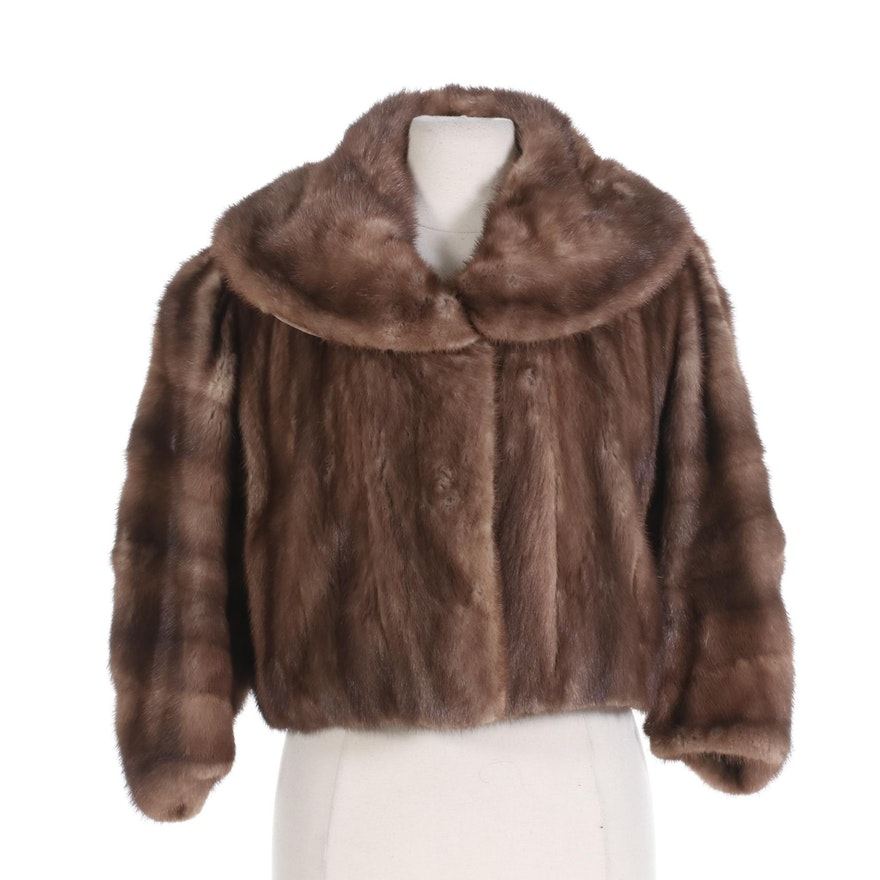 Mink Fur Cropped Jacket with Shawl Collar and Three-Quarter Sleeves