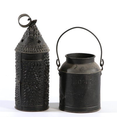 Punched-Tin Lantern and Four Quart Pail