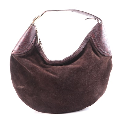 Gucci Brown Suede and Horsebit Embossed Leather Hobo Bag