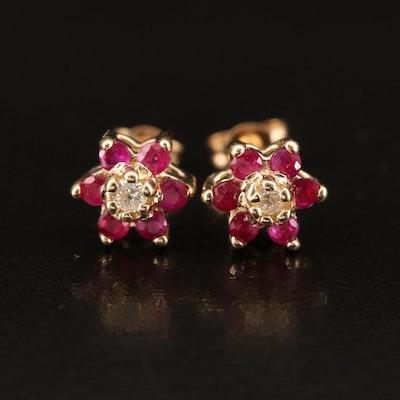 14K Diamond and Ruby Stud Earrings