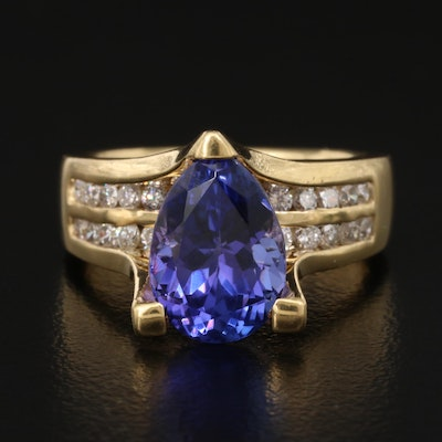 18K 3.11 CT Tanzanite and Diamond Ring