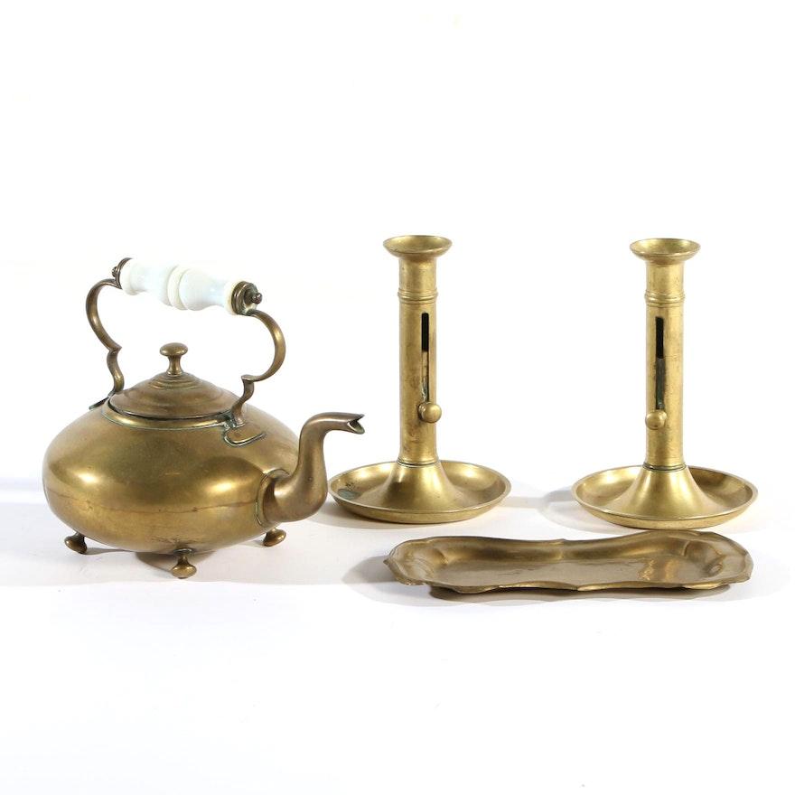 Brass Push-Up Candlesticks, Tea Pot and Tray, 19th Century