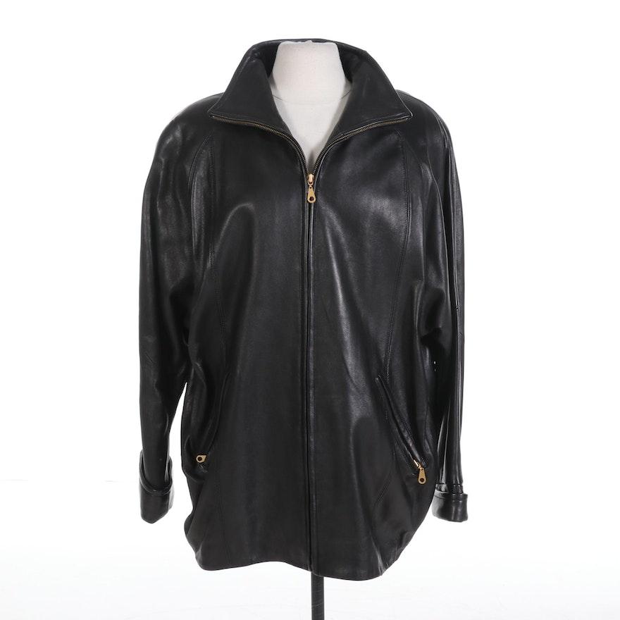 Women's LNR Black Leather Zipper-Front Jacket