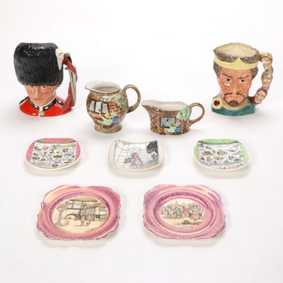"Royal Doulton ""The Guardsman"" Character Jug with Other Creamers and Plates"