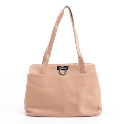 Salvatore Ferragamo Gancini Shoulder Bag in Tan Leather