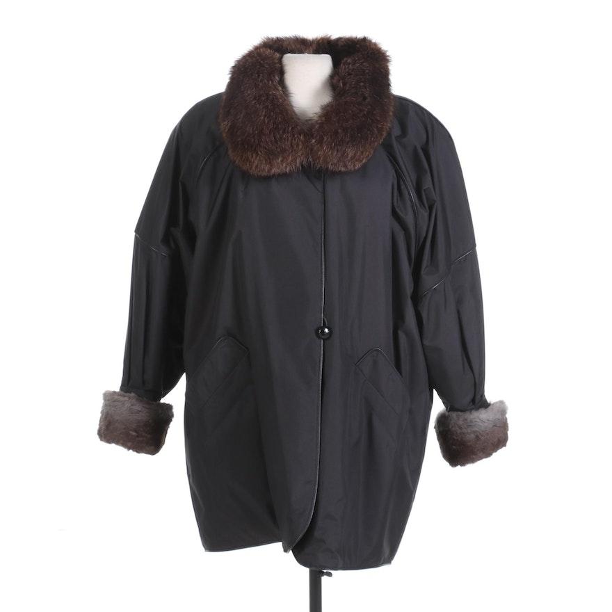 Women's Rudolpho Coat with Fox Fur Collar and Sheared Rabbit Fur Lining