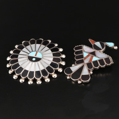 F. Kallestewa and Victoria Unkestine Zuni Sterling Brooches with Gemstone Inlay