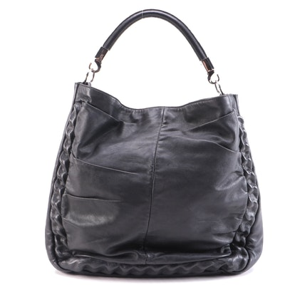 Yves Saint Laurent Roady Covered Chain Hobo Bag in Black Leather