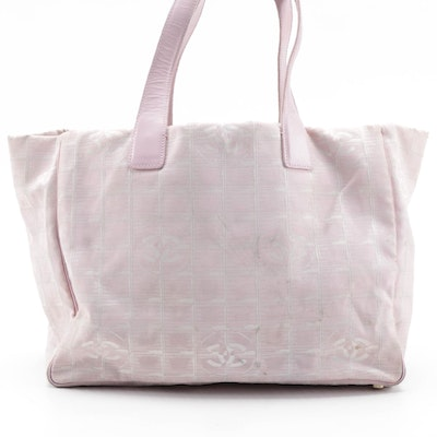 Chanel Traveline Tote Bag in Pink CC Nylon Jacquard and Leather