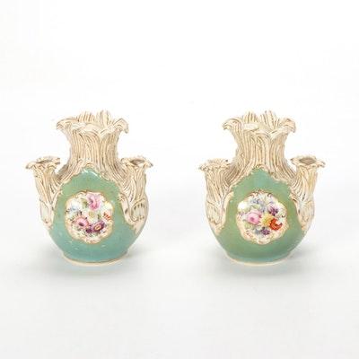Coalport Style Hand-Painted Porcelain English Tulip Vase, Early 1800s