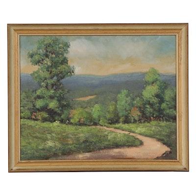 Impasto Oil Painting of Mountain View