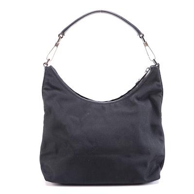 Gucci Black Nylon and Leather Trim Shoulder Bag