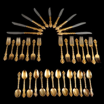 """International Silver """"Countess"""" Gold Finish Silver Plate Flatware with Chest"""
