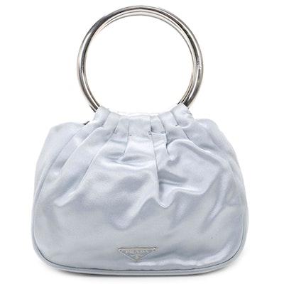 Prada Ring Handle Bag in Pale Blue Satin