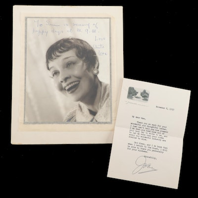 Signed Joan Crawford Letter and Anita Loos Photograph to Samuel Marx