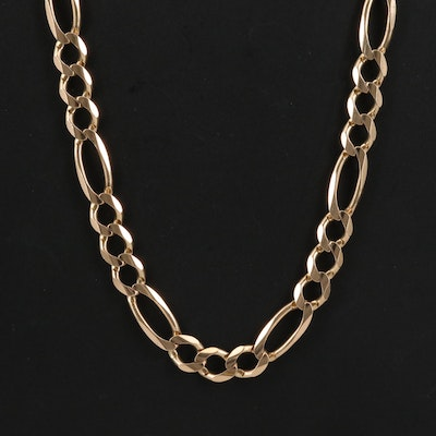 14K Figaro Chain Link Necklace
