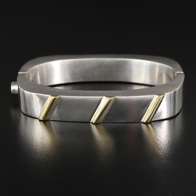 Mexican Sterling Silver Hinged Bangle