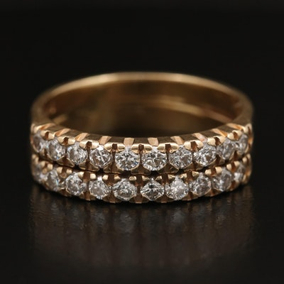 14K Diamond Double Band