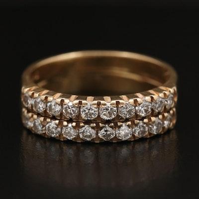 14K Diamond Double Band