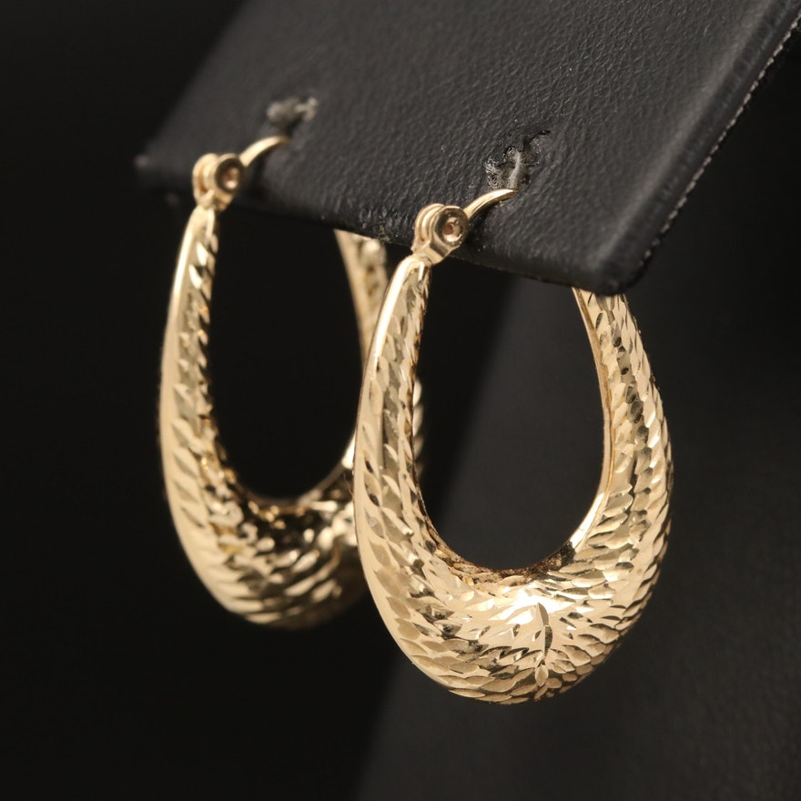 14K Textured Elongated Hoop Earrings