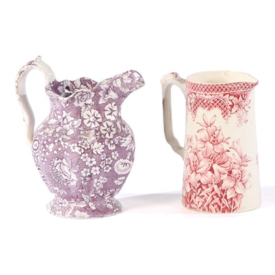 English Purple Calico and Other Pink Transferware Pitchers, Mid-Late 19th C.