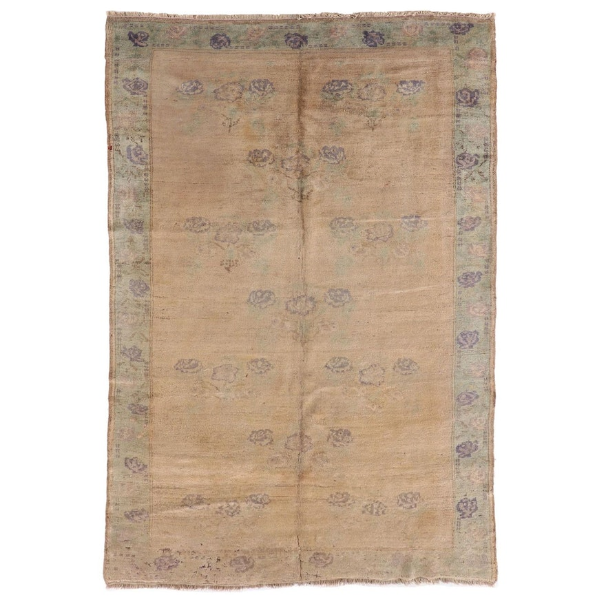 5'3 x 8'10 Hand-Knotted Chinese Floral Wool Area Rug