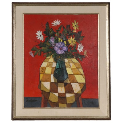 Modernist Style Oil Painting of Still Life with Vase of Flowers
