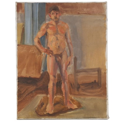 Oil Painting of Male Nude Figural Study, Late 20th-21st Century