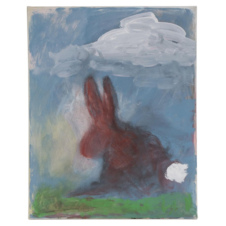 "Philip the Transplant Acrylic Painting ""Rabbit,"" 2020"