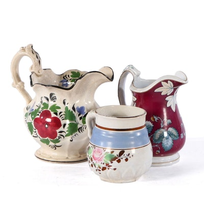 Davenport and Other English Ironstone Pitchers, 19th Century