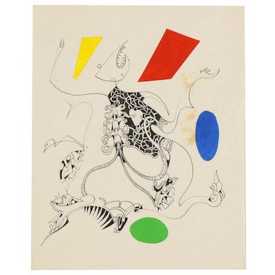 Eduardo Oliva Surrealist Ink Drawing, Late 20th Century
