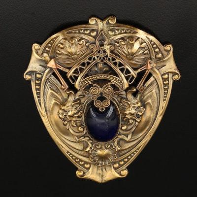Art Nouveau Glass Shield Brooch with Griffins