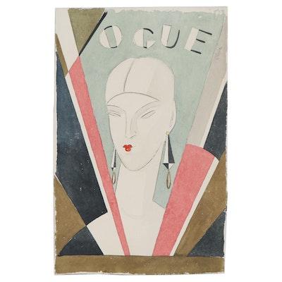"Eduardo Oliva Watercolor Fashion Illustration ""Vogue,"" Late 20th Century"