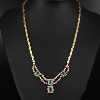 14K Emerald and 2.33 CTW Diamond Stationary Pendant Necklace