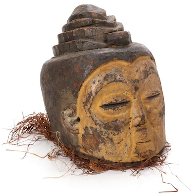 Suku Inspired Wooden Helmet Mask, Central Africa
