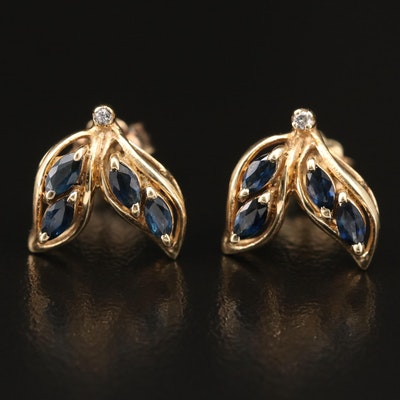 14K Sapphire and Diamond Leaf Stud Earrings