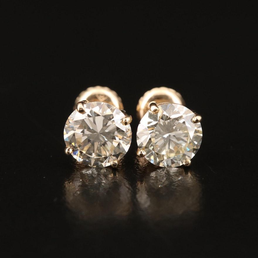 14K 2.56 CTW Diamond Stud Earrings with GIA Diamond Report