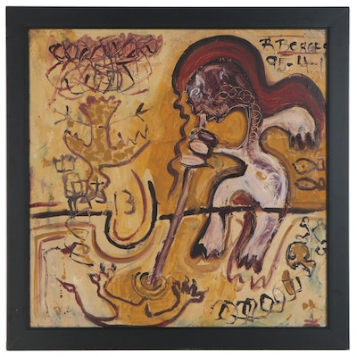 Double-Sided Abstract Figural Oil Painting, 1995