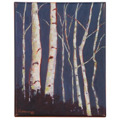 "Rebecca Manns Oil Painting ""Winter White Birch,"" 2020"