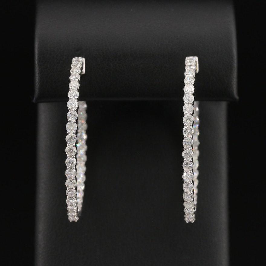 14K 5.01 CTW Diamond Inside-Out Hoop Earrings