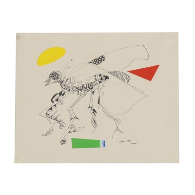 Eduardo Oliva Surrealist Ink Drawing of Dragonfly, 1985