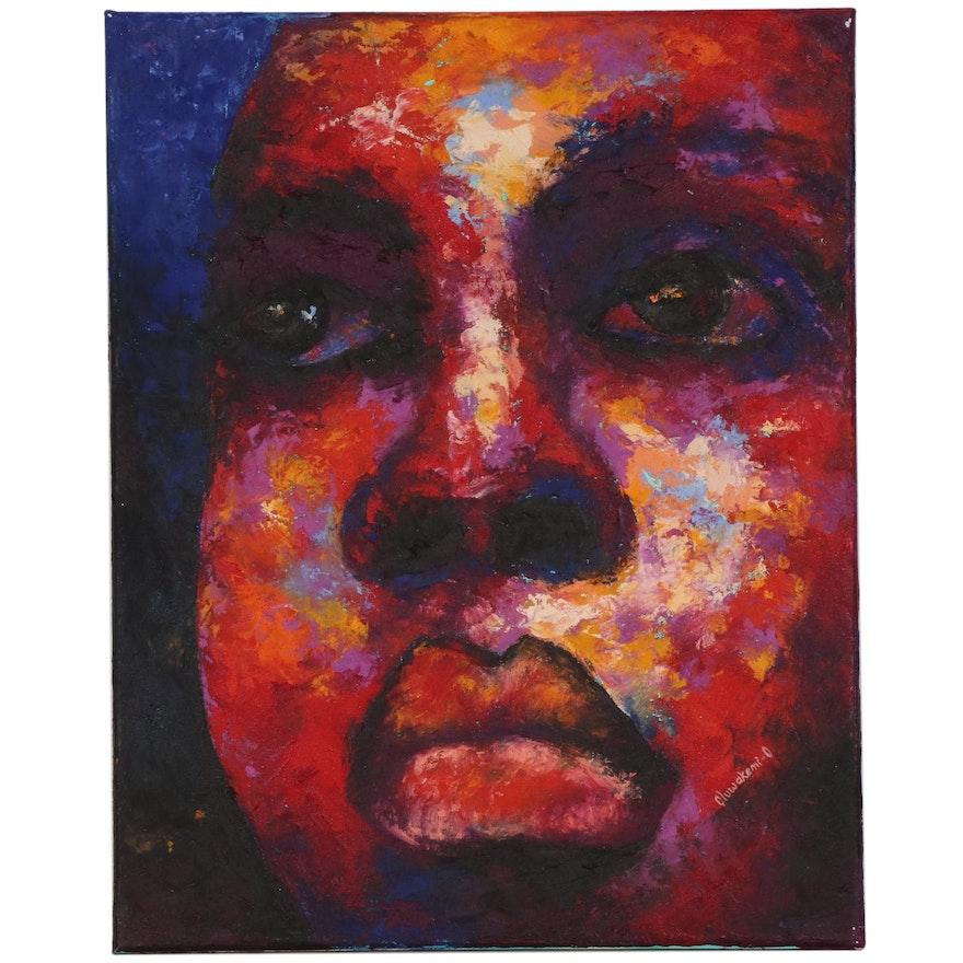 """Oluwakemi Omowaire Oil Painting """"Keep Holding On,"""" 2020"""
