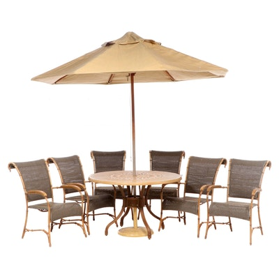 Summer Classics Metal Rattan and Wicker Style Patio Dining Set with 8' Umbrella