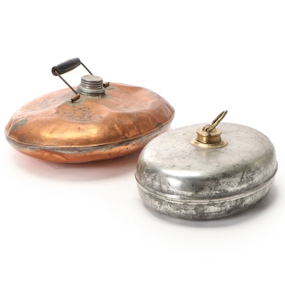 Copper and Zinc Plated Bed or Foot Warmers, Early 20th Century
