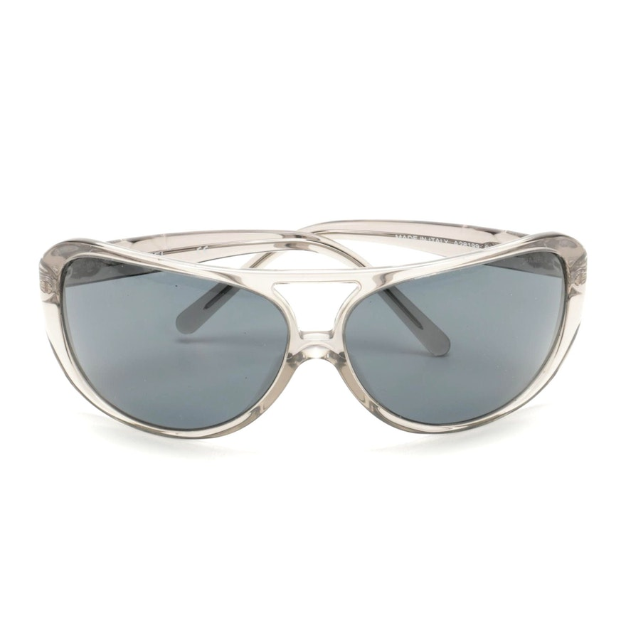 Chanel CC Aviator Sunglasses in Grey Acrylic with Case