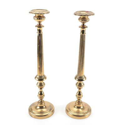 Pair of French Brass Altar Candlesticks