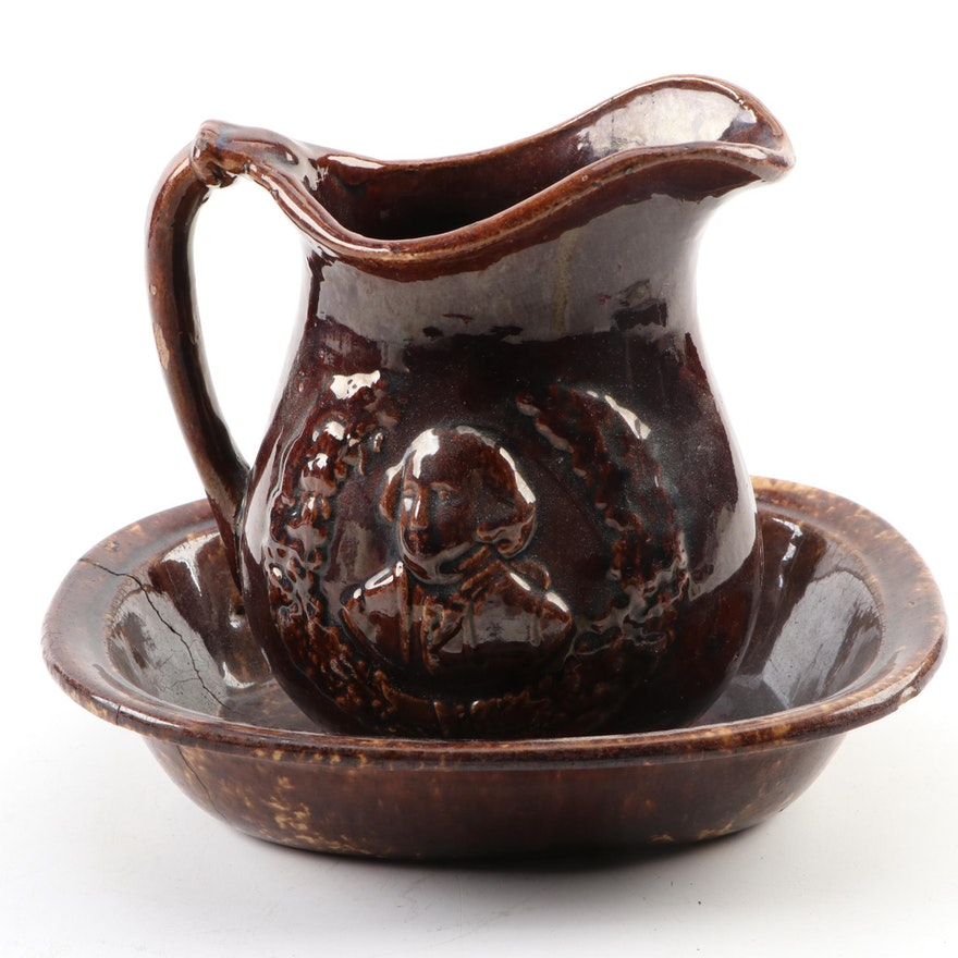 Bennington Glazed George Washington Pitcher and Splattered Bowl